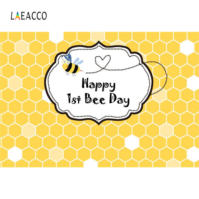 Laeacco Happy 1st Bee Day Honeycomb Baby Birthday Party Cartoon Photography Backgrounds Photographic Backdrops For Photo Studio