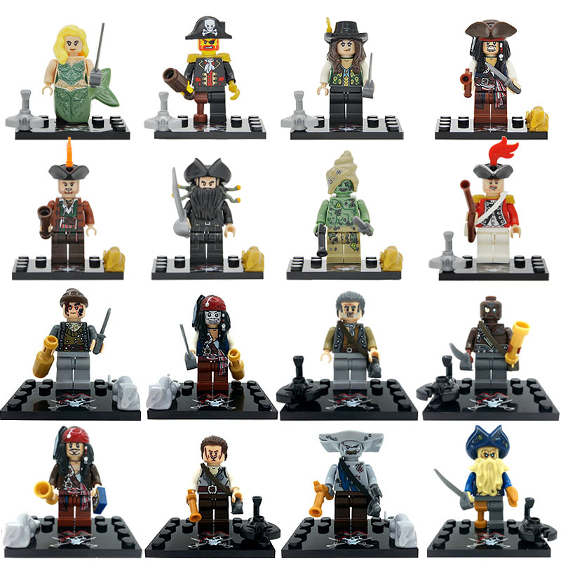 Pirates of the Caribbean 8pcs Figure Set Salazar Revenge Captain Jack Carina Smyth Lesaro Building Blocks Model Bricks Toy