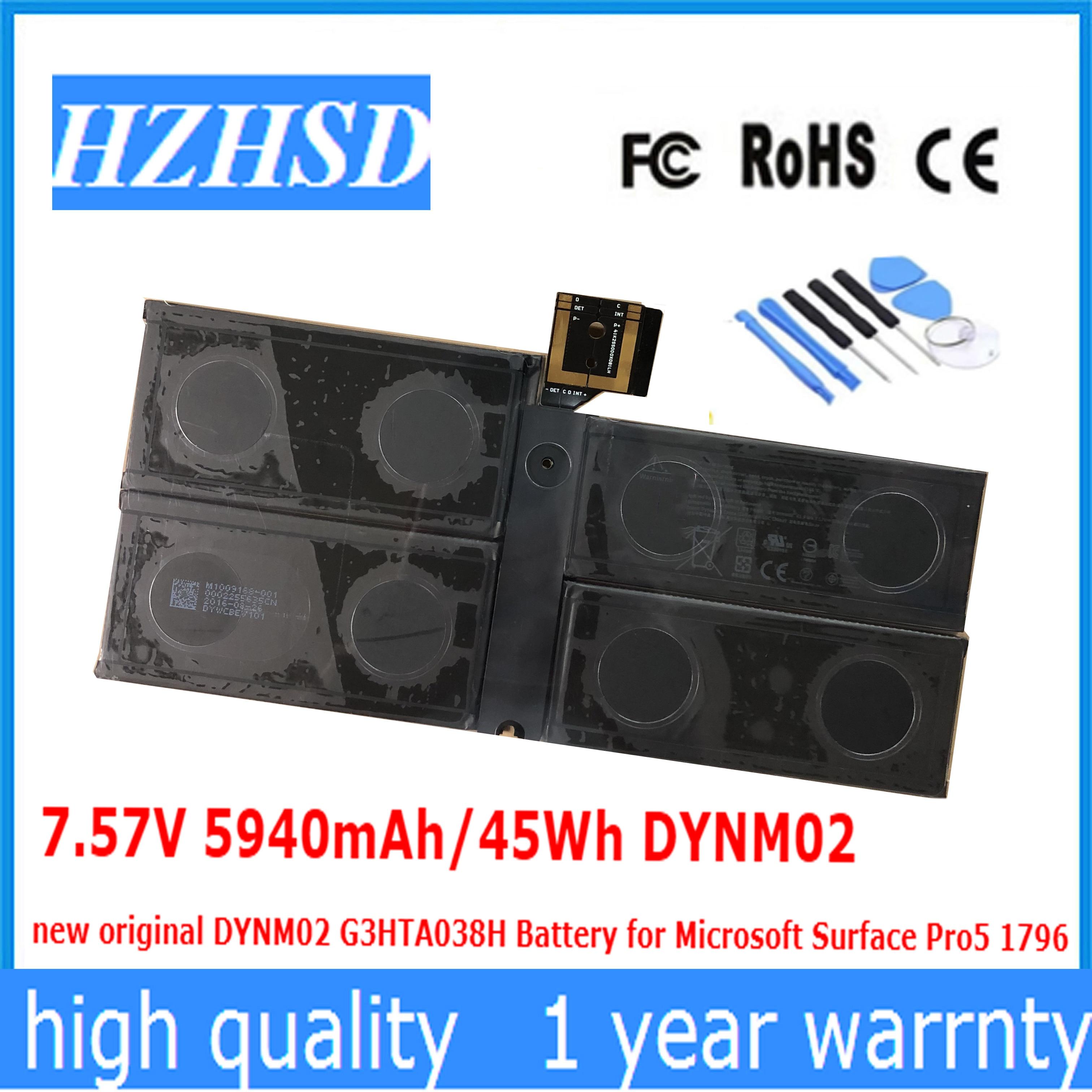 7.57V 5940mAh/45Wh DYNM02 New Original DYNM02 G3HTA038H Battery For Microsoft Surface Pro5 1796  PRO 5