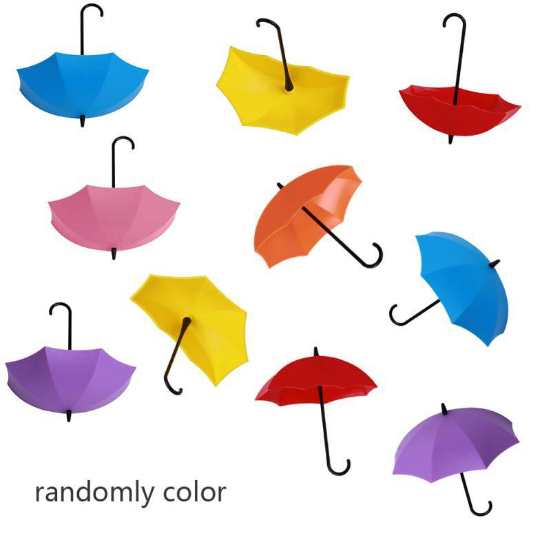 10Pcs/lot Umbrella Shape Cute Self Adhesive Wall Door Hook Hanger Bag Keys Bathroom Kitchen Sticky Holder