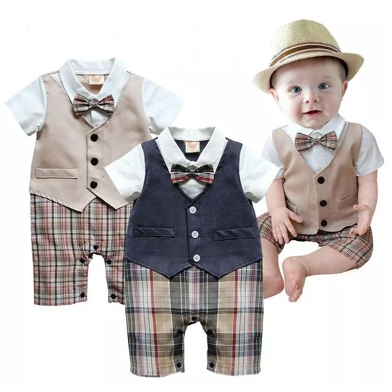 Baby Boys Clothes newborn months Tuxedo Rompers Shortall Handsome Gentleman roupas de Bebe Clothing Vest Boties infantil 2017 summer baby rompers tuxedo shortall jumpsuit bebe clothing two piece set vest bowtie baby braces rompers kid clothes