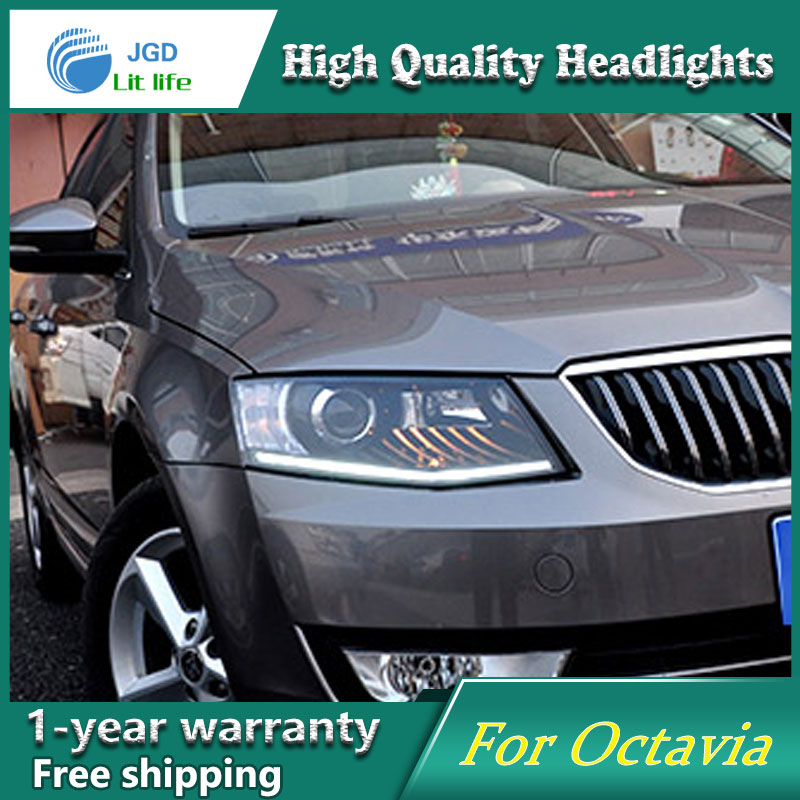 high quality Car styling case for Skoda Octavia 2015 Headlights LED Headlight DRL Lens Double Beam HID Xenon hireno headlamp for 2016 hyundai elantra headlight assembly led drl angel lens double beam hid xenon 2pcs