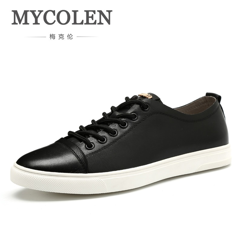 MYCOLEN New 2018 Spring Summer Genuine Leather Shoes Men Low Top Black Shoes Men's Brand Fashion Casual Shoes Tenis Masculinos 2017 new spring imported leather men s shoes white eather shoes breathable sneaker fashion men casual shoes