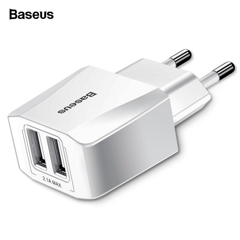 Baseus Dual USB Charger For IPhone Xs Max X 8 Samsung S10 S9 Xiaomi Mi 9 8 EU Adapter
