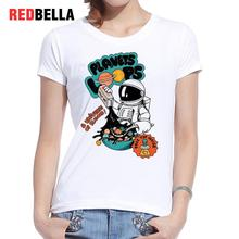 REDBELLA Women Tops 2017 New Ulzzang Funny Planets Cute Astronaut Cooking Humor Alien Figure Letter Cotton O-neck Femme Clothing