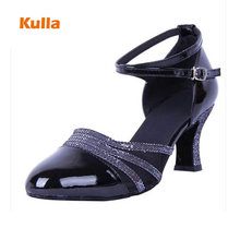 Women Latin Dance Shoes Black Heeled 6cm Closed Toe Soft Sole Practice Ballroom Tango Dancing Shoes Womans Salsa Dance Shoes