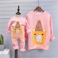 Family Matching Outfits Mother Daughter Sweaters Kids Suits Funny Cartoon Pattern Sweaters Family Look Cotton Thicken Sweaters