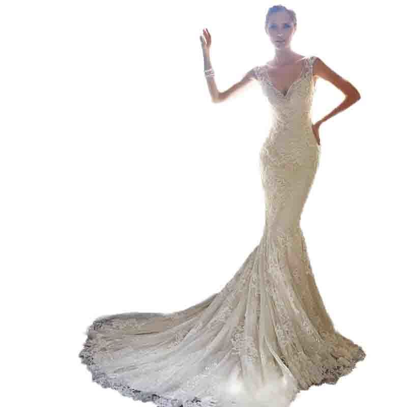 2018 Angel On Brigade Time Portrait Light Wedding Dress Slim Lawn Location Bride Fish Tail Wedding Dress new listing Favourite