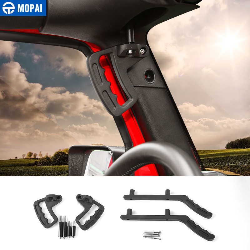 MOPAI Aluminum Car Front Rear Interior Decoration Top Mount Hardtop Grab Handle Bar For Jeep Wrangler 2007 Up Car Styling silver aluminum car hawse fairlead for jeep wrangler 2007 2016