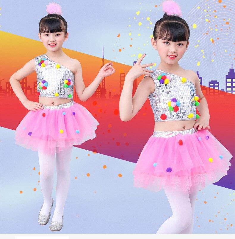 Children's Jazz Dance Latin Dance Kindergarten Dance Costume Girl Fluffy Skirt Sequin Performance Clothing Praise Dance Ephods