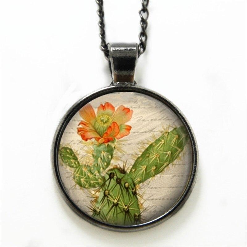 10PCS Cactus necklace Cactus Flower Prickly Pear Desert Southwest Art necklace Flower print glass necklace