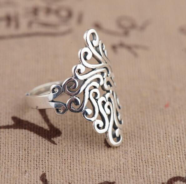 Korean Style New Silver Color Large Rings For Women Wedding Jewelry Statement Adjustable Retro Ring Anillos Anelli 2