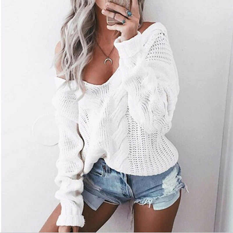 Women Winter Knitted Sweater Wome Autumn White Hollow Out Pullover Sweater Sexy Deep V Neck Long Sleeve Jumpers