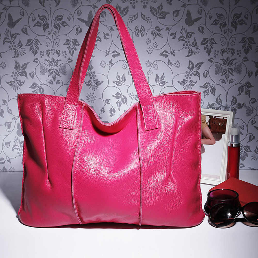 c339cea9fe1cdc ... Zency 100% Genuine Leather Handbag Large Capacity Women Shoulder Bag  Retro Tote Purse High Quality