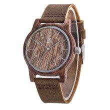 UWOOD Mens Wooden Quartz Wristwatch Minimalism Antique Retro Soft Leather Band Bracelet Husband Bangle Gift Mens Wood Watches