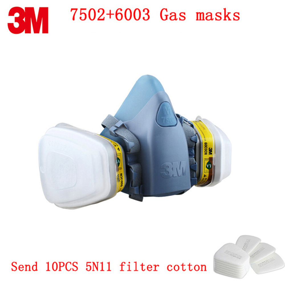 3M 7502+6003 Respirator Gas Mask Respirator 7 In 1 Silicone Anti-dust Organic Vapor Benzene PM2.5 Multi-purpose Protection Tool 9 in 1 suit gas mask half face respirator painting spraying for 3 m 7502 n95 6001cn dust gas mask respirator