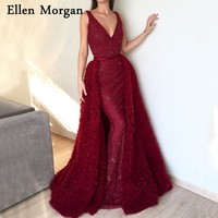 Glitter Fabric Burgundy Mermaid Evening Dresses 2018 Robe De Soiree Sexy V Neck Tulle Runway Fashion