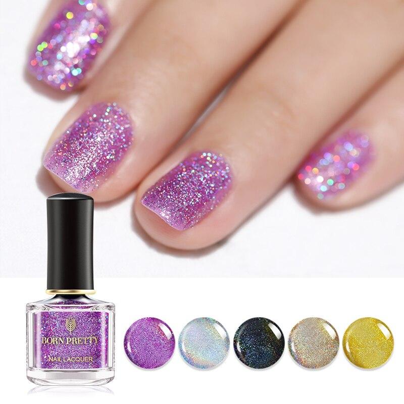 BORN PRETTY 6ml Holo Nail Polish Laser Glitter Shining Long Lasting ...