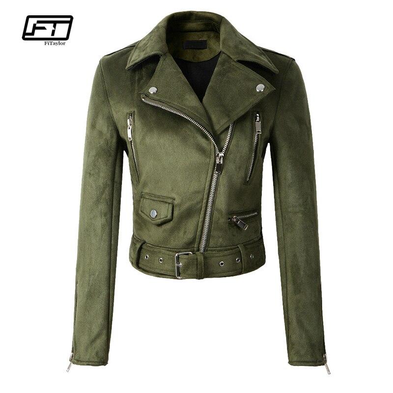 Fitaylor Women Faux Soft Leather Suede Jacket Coat Lady Motorcycle Punk Black Jacket Short Zipper Design Suede Pink Green Coats