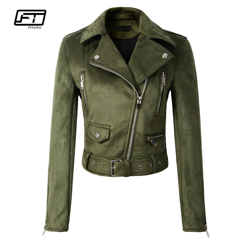 Fitaylor Women Faux Soft   Leather     Suede   Jacket Coat Lady Motorcycle Punk Black Jacket Short Zipper Design   Suede   Pink Green Coats