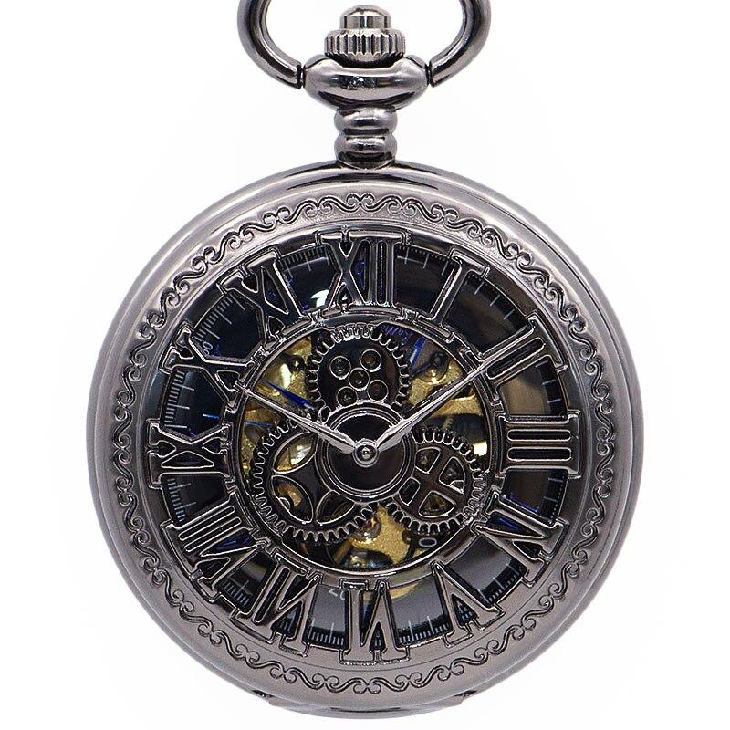 Antique Roman Numerals Mechanical Pocket Watch Hollow Gear FOB Watch Men Chain Necklace Pendant Gift Reloj De Bolsillo