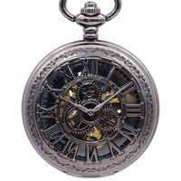 Reloj de bolsillo mecánico con números romanos antiguos reloj de cadena con engranaje hueco para hombre collar con colgante de regalo reloj de bolsillo