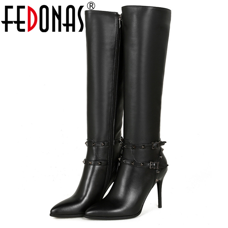 FEDONAS Brand Women Cow Leather High Boots Sexy Rivets Winter Warm Knight Long Genuine Leather Shoes Woman Zipper Snow Boots fedonas top quality winter ankle boots women platform high heels genuine leather shoes woman warm plush snow motorcycle boots