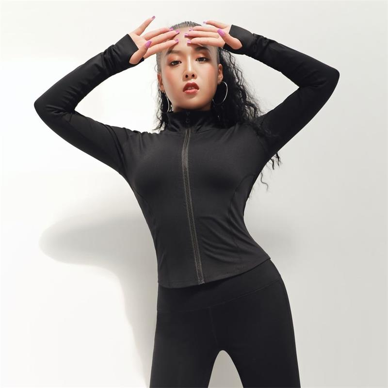 2019 new spring summer gym slim quick dry sport coat long sleeve zip yoga suit tight running fitness training zipper jacket