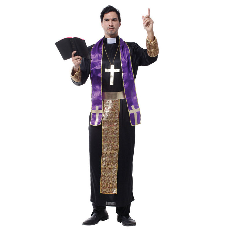 halloween costume for men christian european religious missionaries pastor priest costumes adult fancy cosplay clothing - Halloween Costumes Prices