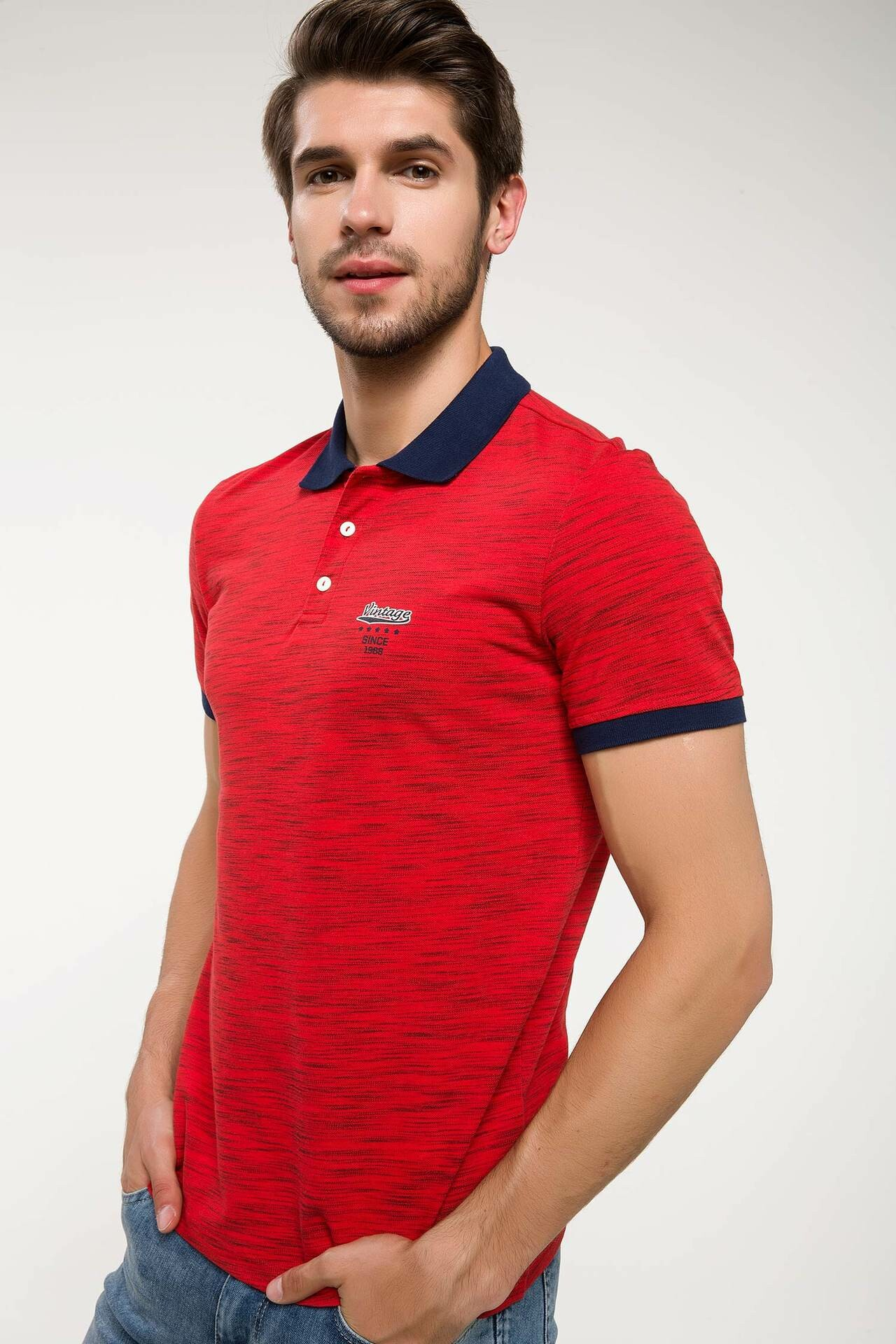 DeFacto Summer Men's Turn-down Collar Red   Polo   Shirt Man Knitted Slim Fit   Polo  -energy I4242AZ18SMRD283