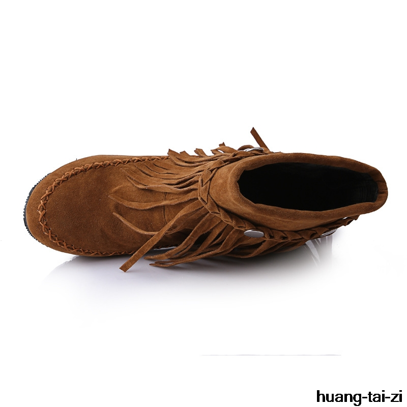 631c13d59 Negro Muchacha Suede Borla Fringe La Mujeres Étnica Grande marrón Faux Botines  Mujer Zapatos 43 Tamaño Gitana Bohemia Planos Boho De rojo Cuero ...