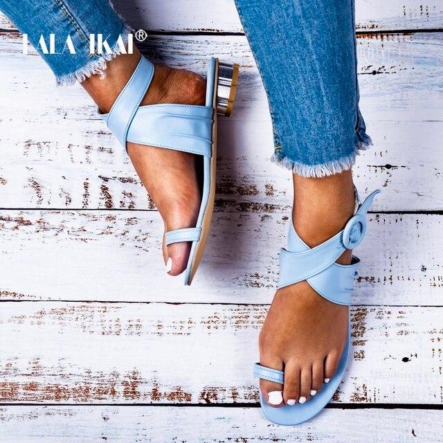 LALA IKAI Donne Casual Estate Scarpe di Cuoio DELL'UNITÀ di elaborazione di Colore Solido Fibbia Strap Low Talloni Delle Signore Sandali Chaussures Femme 014A3250-4