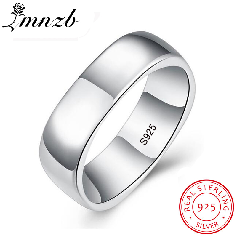 LMNZB 100% Original Real 925 Sterling Silver Rings Unique Square Shape S925 Stamp Finger Rings For Men Women with Gift Box LR062