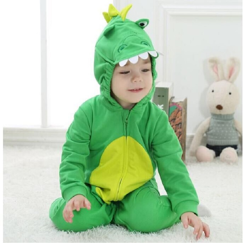 Androkton 2018 Dinosaur Spring Newborn Infant Baby Clothes Pure Cotton Romper Hooded Jumpsuit  Onesie Cosplay Boys Girls Costume