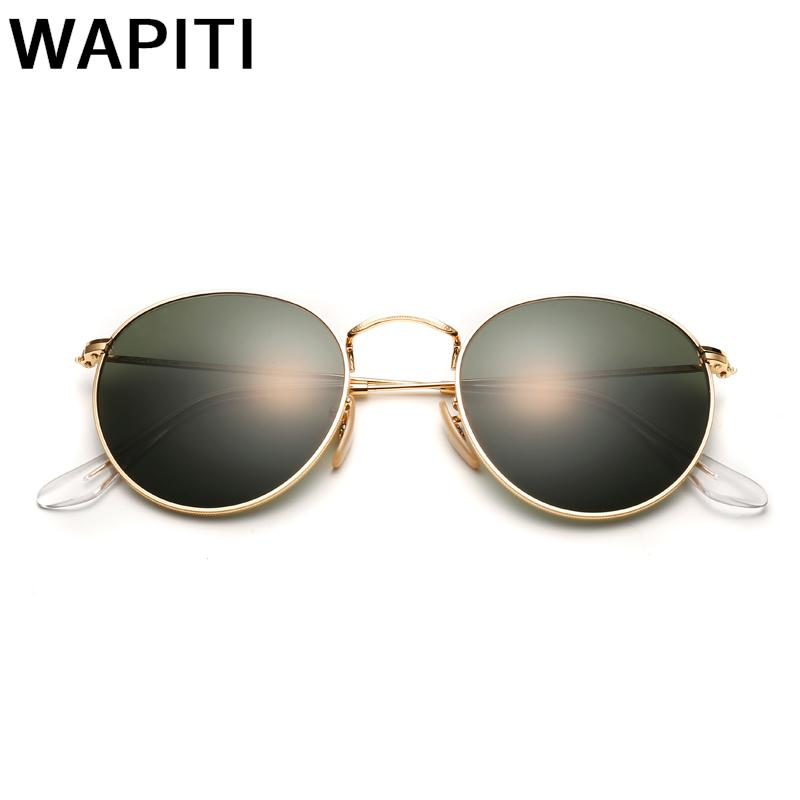 Retro Round Sunglasses Men Brand Designer Driving Sunglasses Glass Lenses Metal Sunglasses Vintage Women Shades UV400 3447