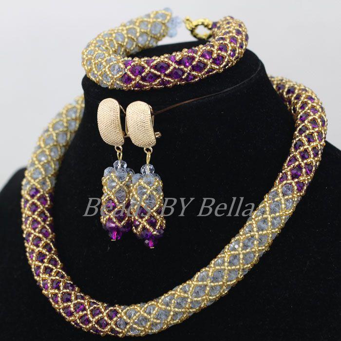 Gold Seed Beads Braid Nigerian Wedding Choker Necklace Purple ...