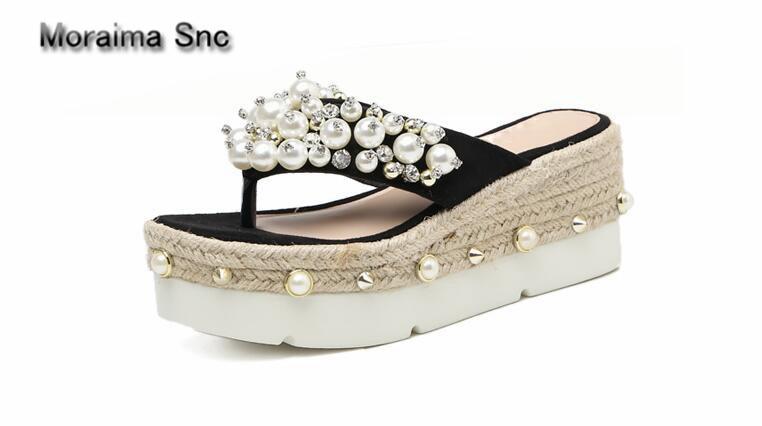 Moraima Snc barnd flip flops women slippers Rhinestone platform women shoes high heels sandals ladies pearl pantoufle femme 2018