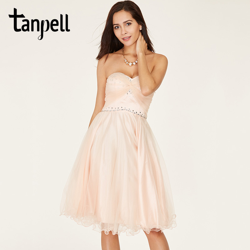 Tanpell short homecoming dress pink sweetheart sleeveless above knee a line gown lady beaded lace up cocktail homecoming dresses