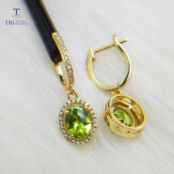 TBJ,classic design Clasp earring with natural peridot oval 7*9mm gemstone  925 sterling silver fine jewelry for women nice gift - DISCOUNT ITEM  8% OFF All Category