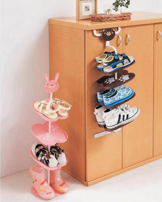 Cartoon Child Shoe Rack Baby Shoes Holder Kid`s Shoes Rack Home Storage Rack Shoe Rack