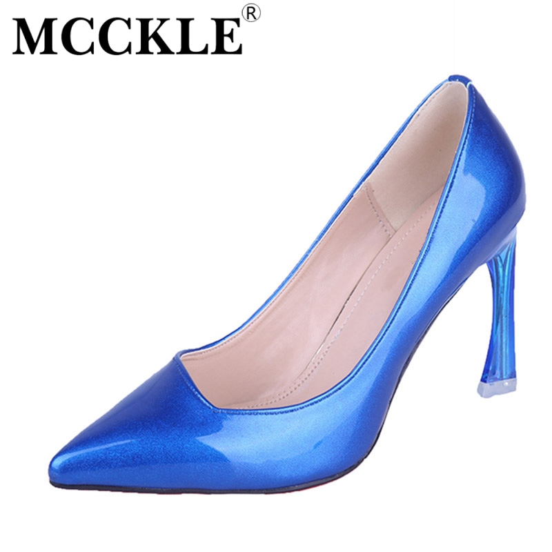 MCCKLE 2017 Fashion Women Shoes High Heels Woman Pointed Toe Patent Leather Black Ladies Sexy Office Pumps Casual Comfortable women pumps flock high heels shoes woman fashion 2017 summer leather casual shoes ladies pointed toe buckle strap high quality