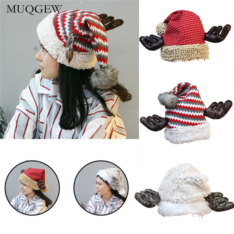 126c952d2f8 Christmas hat adult child cute elk antlers santa claus hats xmas holiday  party winter cap beanies