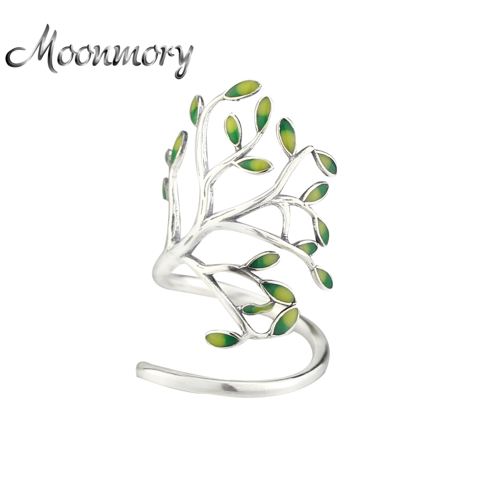 Moonmory 925 Sterling Silver Spiring Little Tree Open Ring För Kvinnor Justerbar Storlek Tree Shaped Wrap Ring Med Emalj Smycken
