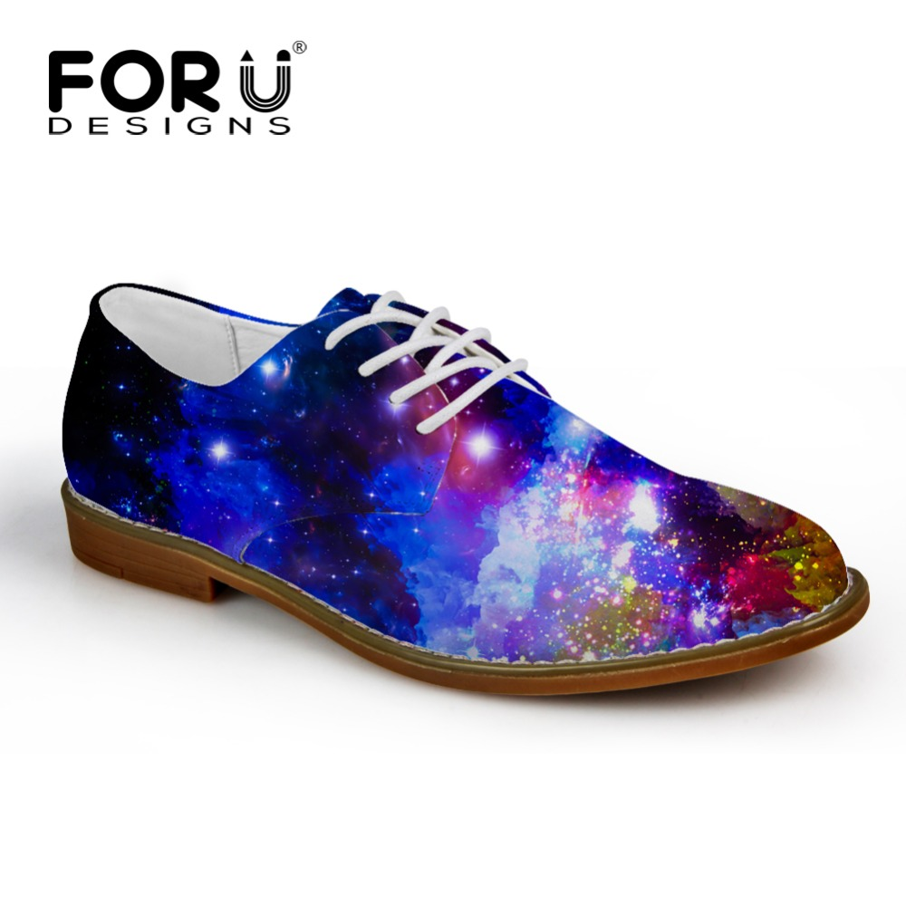 FORUDESIGNS Casual Mens Flats,Galaxy Star Men Oxford Flat Shoes,Puzzle Style High Quality Spring Summer Lace-up Flat Shose