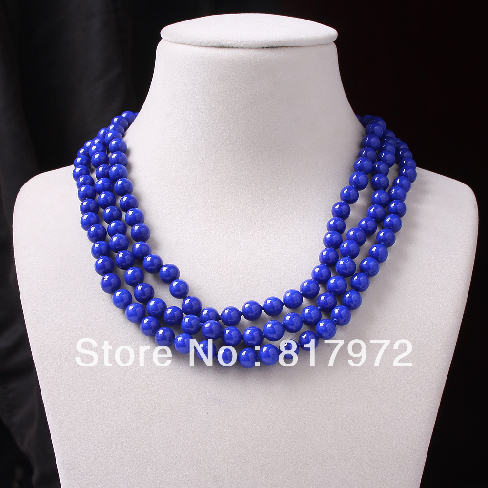 3 Rows Glamour New Fashion  8mm Round Bead Lapis Lazuli Multilayer Necklace Woman Party Gift