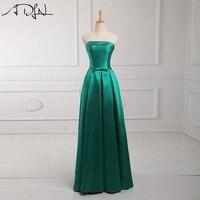 ADLN реальное изображение дешевые платья невесты Простой без бретелек зеленый длинный атласный Свадебная вечеринка платье фрейлины платье п