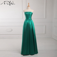 Real Picture Wholesale Green Satin A Line Cheap Bridesmaid Dresses Long With Sash Best Selling Simple