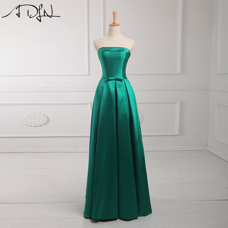 ADLN Real Picture Cheap Bridesmaid Dresses Simple Strapless Green Satin Long Wedding Party Dress Maid of Honor Dress Customized