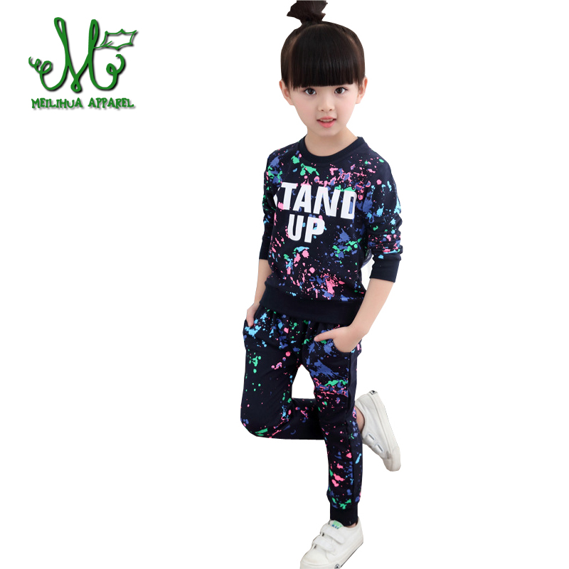 Girls Graffiti Sports Suits Letter Clothing Sets For 5 6 8 10 12 14 Year Girls Tracksuits 100% Cotton Spring Sportswear Outfits