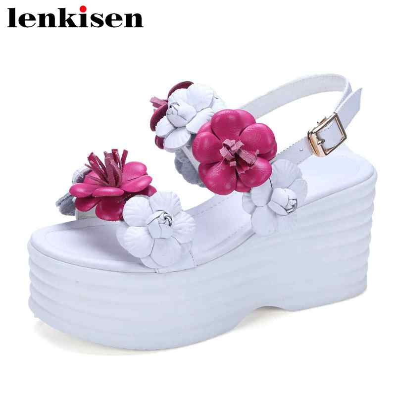 Lenkisen peep toe cow leather flowers ornament high heel buckle strap summer platform holiday sweet women increased sandals L60 2017 superstar cow leather platform european ankle strap peep toe print mixed colors classic women increased runway sandals 0 4
